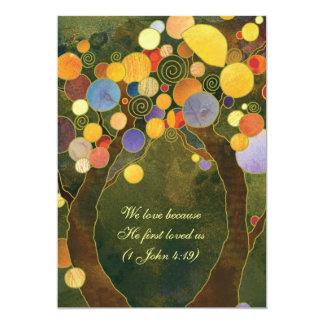 Rustikale Liebe-Baum-olivgrünes Grün-Hochzeit 12,7 X 17,8 Cm Einladungskarte