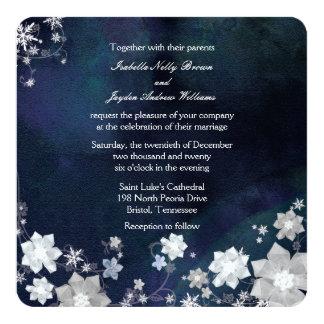 Rustikale Marine-Blau-eisige Winter-Hochzeit Karte