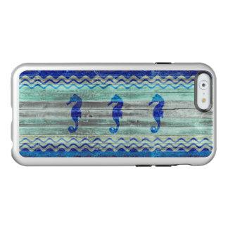 Rustikale Marine-Blau-KüstenSeepferde Incipio Feather® Shine iPhone 6 Hülle