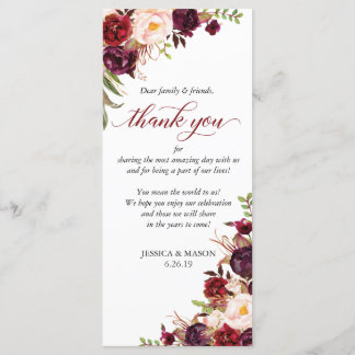 Rustic Marsala Burgundy Wedding Thank You Card