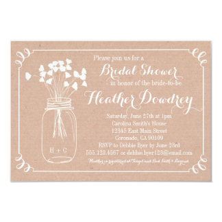 Rustikale Maurer-Glas-BrautPolterabend-Einladung 8,9 X 12,7 Cm Einladungskarte