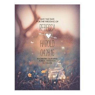 Rustikale Maurer-Glas-Leuchtkäfer-Natur Save the Postkarte