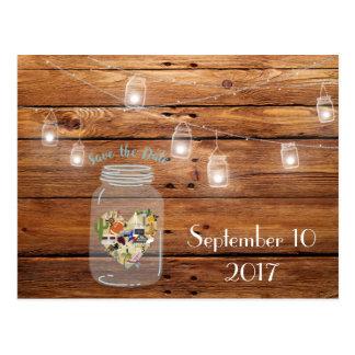 Rustikale Maurer-Glas-Save the Date Postkarte