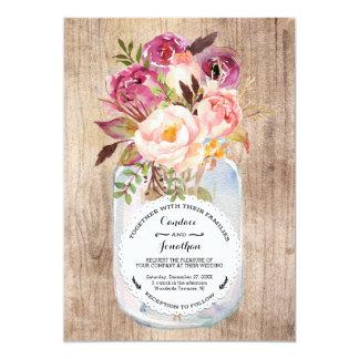 Rustikale Maurer-Glaswatercolor-Blumen-hölzerne 12,7 X 17,8 Cm Einladungskarte