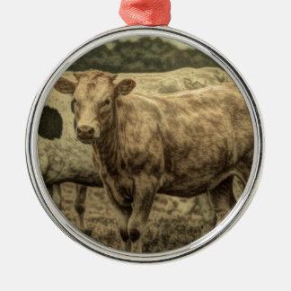 Rustikale Molkerei-Tierbrown-Schweizer-Kuh Rundes Silberfarbenes Ornament