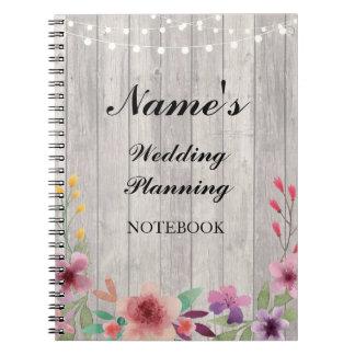 Rustikale Notizbuch-Hochzeits-Planungs-hölzerne Notiz Buch