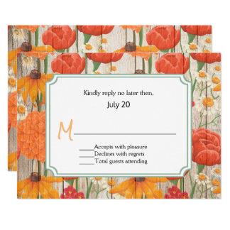 Rustikale orange Blumenhochzeit UAWG Karte