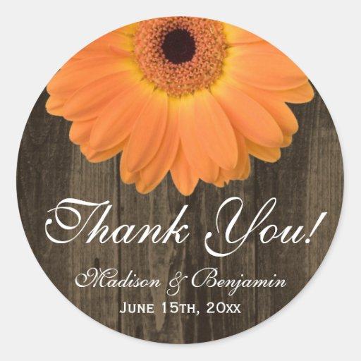 Rustikale orange Gänseblümchen-Hochzeit danken Runde Aufkleber