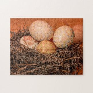 Rustikale Ostereier im Nest Puzzle