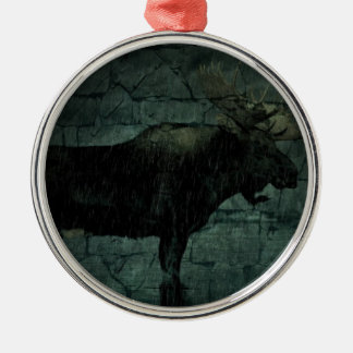 Rustikale Outdoorsmanwildnistier-Stierelche Silbernes Ornament
