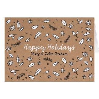 Rustikale Packpapier-Gekritzel-Feiertags-Karte Grußkarte