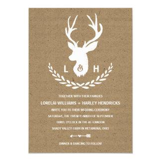 Rustikale Packpapier-Hirsch-Hochzeit des 12,7 X 17,8 Cm Einladungskarte