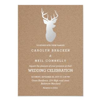 Rustikale Packpapier-Silber-Geweih-Hochzeit 12,7 X 17,8 Cm Einladungskarte