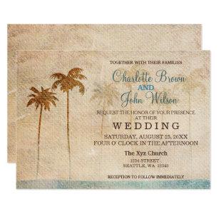 Rustikale Palme Strand Hochzeits Einladungen Einladung
