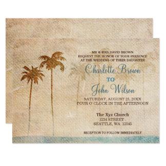 Rustikale Palme-Strand-Hochzeits-Einladungen Karte