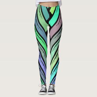 Rustikale Pastellblatt-Anschläge Leggings