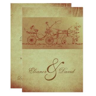 Rustikale Pferde- und des WagensVintage 12,7 X 17,8 Cm Einladungskarte