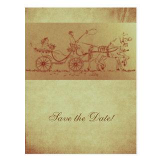 Rustikale Pferde- und des WagensVintage Postkarte