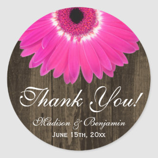 Rustikale Pink-Gänseblümchen-Hochzeit danken Ihnen