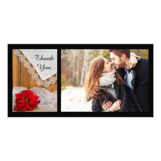 Rustikale Poinsettia-Spitze-Winter-Hochzeit danken Karte