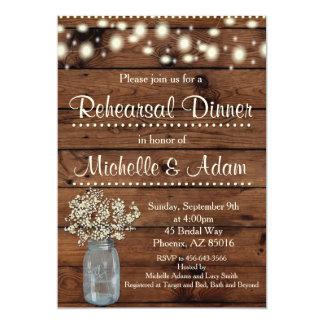 Rustikale Proben-Abendessen-Einladung, Probe Karte