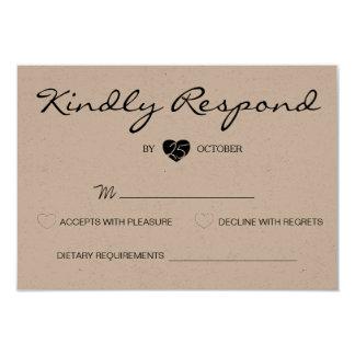 Rustikale romantische Reihen-Hochzeit UAWG Karte