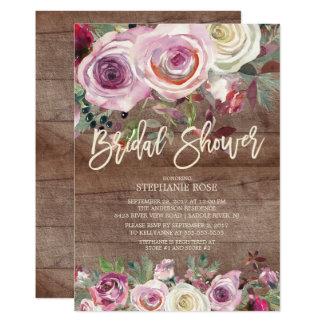 Rustikale Rosen-lila BlumenBrautparty-Einladung Karte