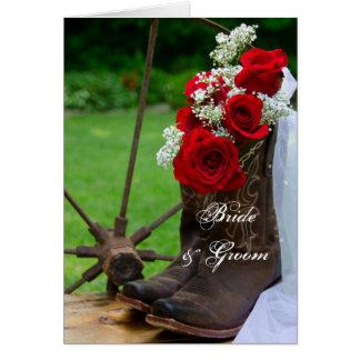Rustikale Rosen und Cowboystiefel, die Einladung