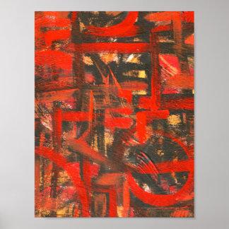Rustikale Rot-Hand gemalte abstrakte Kunst Poster