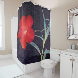 Rustikale rote Blumen-Brise Duschvorhang
