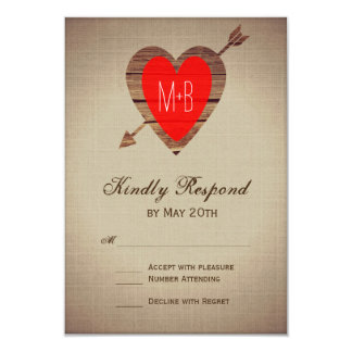 Rustikale rote Herz-Pfeil-Hochzeit UAWG Karten Karte