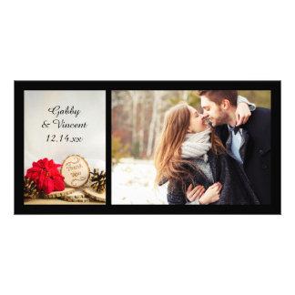 Rustikale rote Poinsettia-Winter-Hochzeit danken Karte