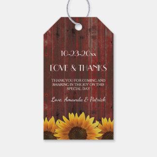 Rustikale rote Sonnenblume-Hochzeit danken Ihnen Geschenkanhänger