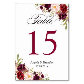 Rustikale rote Wedding BlumenTischnummer Karte
