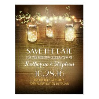 rustikale SAVE THE DATE Postkarte der Lichter u.