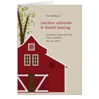 Rustikale Scheunen-Hochzeits-Programm-Karte Grußkarte