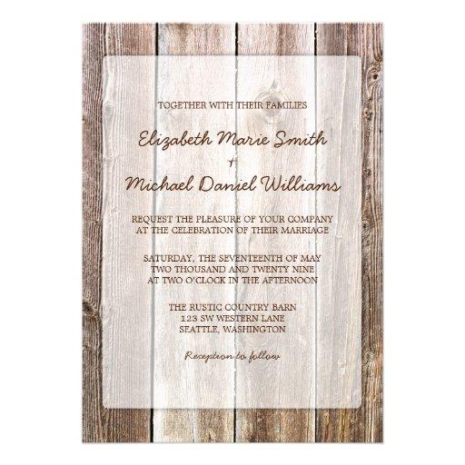 Rustikale Scheunen-hölzerne Hochzeits-Einladungen