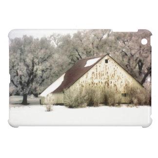 Rustikale Scheunen-Schnee-Szenen-Winter-Landschaft iPad Mini Hüllen