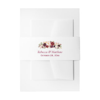 Rustikale schicke mit Blumenhochzeit Burgunders Einladungsbanderole