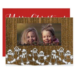 Rustikale Schneemann-Familien-frohe 12,7 X 17,8 Cm Einladungskarte