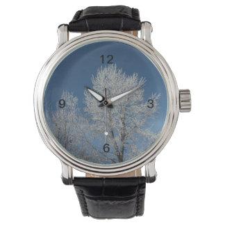 Rustikale Schneeszenen-Winterbäume des blauen Uhr