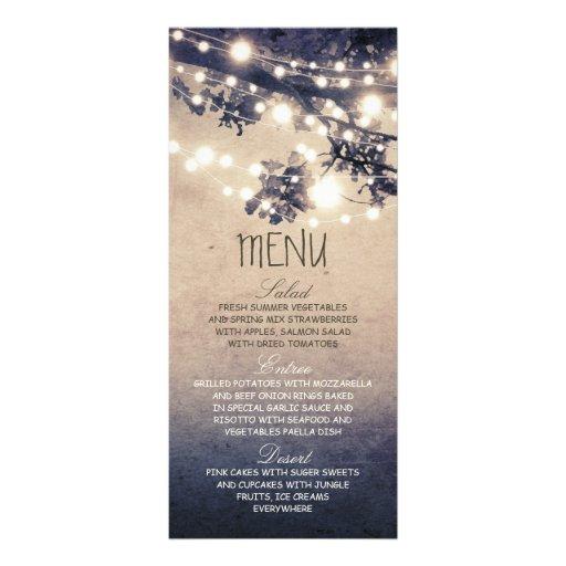 Rustikale Schnur beleuchtet Hochzeitsmenükarten Kartendruck