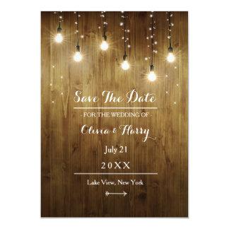 Rustikale Schnur der Licht-Land-Save the Date 12,7 X 17,8 Cm Einladungskarte