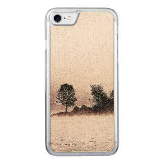 Rustikale Schwarzweiss-Bäume im Nebel Carved iPhone 8/7 Hülle