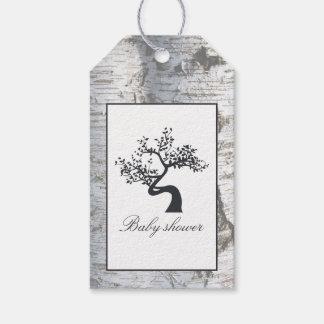 Rustikale silberne Birken-Baum-Babyparty Geschenkanhänger