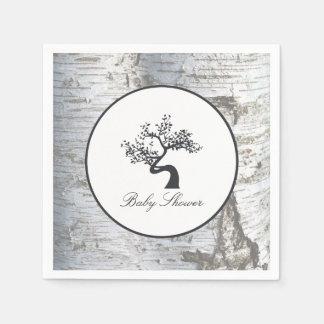 Rustikale silberne Birken-Baum-Babyparty Papierservietten