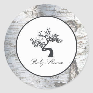Rustikale silberne Birken-Baum-Babyparty Runder Aufkleber