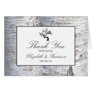 Rustikale silberne Birken-Baum-Hochzeit danken Karte