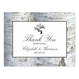Rustikale silberne Birken-Baum-Hochzeit danken Postkarte