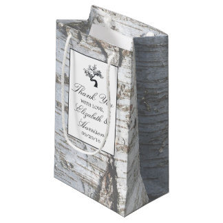 Rustikale silberne Birken-Baum-Hochzeit Kleine Geschenktüte